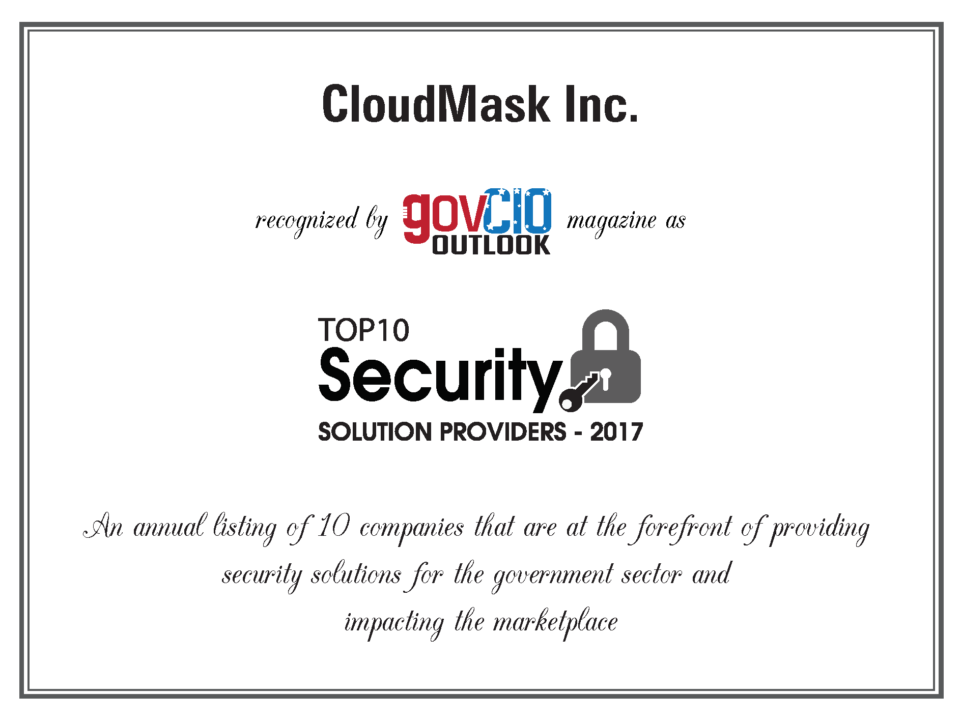 CloudMask Named to Gov CIO Outlook's Top 10 Security Solution Providers 2017
